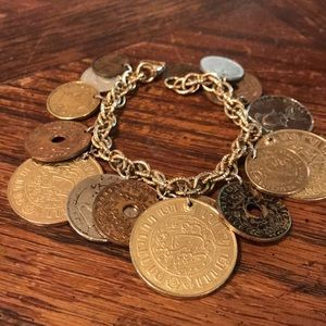 Coro charm bracelet with faux coins